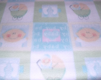 Baby Girl Fleece Blanket with Babys/Baby Carriages in Baby Blue/White, Ready To Ship
