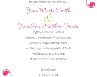 Swirl Wedding Invite - Custom Colors available