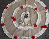 Burlap Tree Skirt with Cream Ruffle and Red Flowers