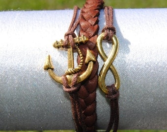 Anchor Infinity Braided Leather Bracelet