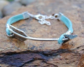 Turquoise Leather Arrow Bracelet