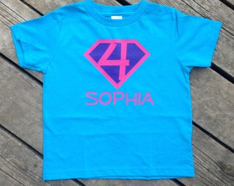 Girl Birthday Present Personalized Superhero T-Shirt, Custom Super Hero Shirt with Initial Girly T-shirt Birthday Party