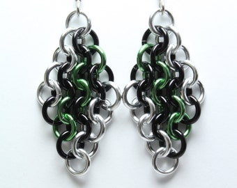 Chainmaille Earrings   Hand Crafted Chainmaille Jewelry   Handmade Earrings   Green, Black, and Silver   Anodized Aluminum