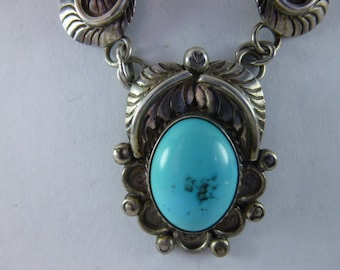 Vintage Native American Turquoise Pendant Necklace Signed B Sterling Silver Feather Scrolls Jewelry