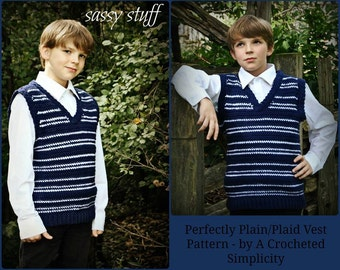 """Crochet Pattern: """"Perfectly Plaid or Plain"""" Boys Sweater Vest, Sizes 5/6 years thru 14 years Permission to Sell Finished Items"""