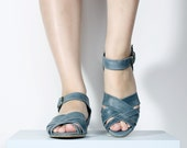 NEW Blue Grey Leather Sandals with peep toe, woven sandals,  flat sandals with buckle