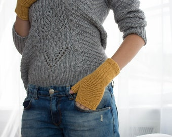 Yellow Fingerless Woolen Gloves For Women Short Warm Knitted Gloves Gifts For Women Birthday gifts