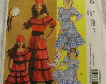 McCall's M5210 UNCUT Pattern / Children's Gypsy, Country Girl costume / Sizes 3, 4, 5, 6, 7 & 8