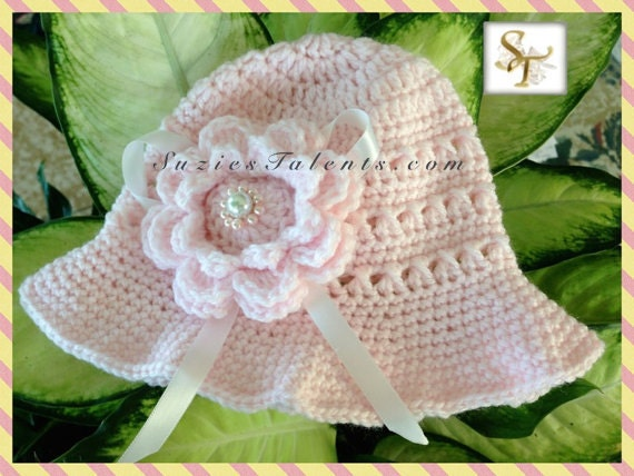 Crochet Baby Sun Hat with Flower Baby Flower Hat Pattern