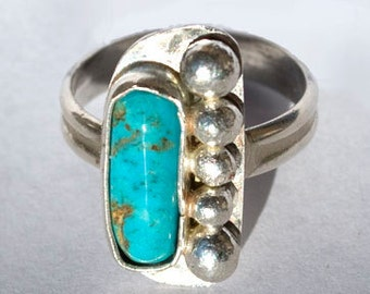 Turquoise Ring - Native American Ring - Southwestern Ring - Sterling Silver Ring - Ring Size 7.5