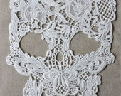 white lace applique, skull lace applique, cotton lace fabric trim