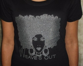 Natural Hair Tee Shirt  Weaves Out Silver Metal Studding