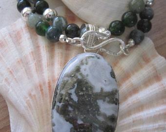 forest jasper pendant necklace