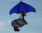 Duck with Umbrella Glass Suncatcher