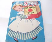 Vintage Coloring Book, 1950's Child's Activity, Coloring Book, Get Well Aids, Girl's, Hospital Coloring Book