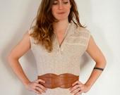 Vintage Women's Cream Knit Dress - Size XS to Medium - LF Petite