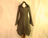 Olive Green Knee Length Hippie Boho Psy Elven Fleece Spring Coat with Pixie Hood and Zipper,  Size L, READY TO SHIP!