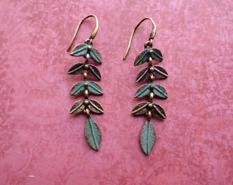 Leaf tuquoise metal earrings