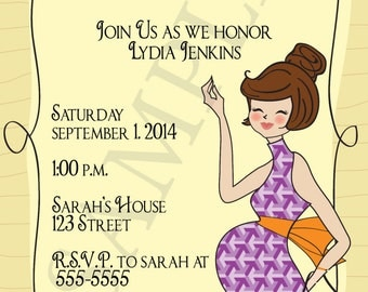 Modern Baby Bump Shower Invitation