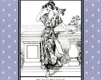 Folkwear Beach Pyjamas Retro 1920s-30s Jumpsuit w/Palazzo Pants Sewing Pattern #252 sizes 6-20