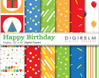 Happy Birthday Digital Paper Pack/Set