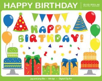 Happy Birthday Clipart - Digital Printable Clip Art