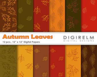 Autumn or Fall Leaves Digital Paper Pack/Set