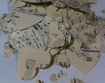 500 Vintage Sheet Music Heart Cutouts Confetti Music Notes Repurposed Wedding