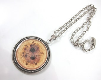 Vintage Dried Flower And Enamel Signed Round Pendant/Necklace-Made In France