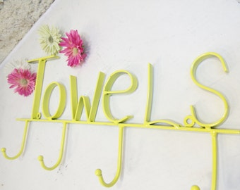Metal Towel Holder/Towel Ring/Cast Iron Decor/Shabby Metal Decor/Kitchen Towel Holder/Bathroom Towel Holder/Metal Decor