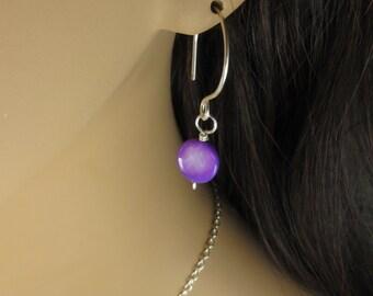 Purple Bead Earrings, Tiny Dangle Earrings, Bead Disc Earrings, Shell Bead Earrings, Mother Of Pearl Earrings, Gift under 25