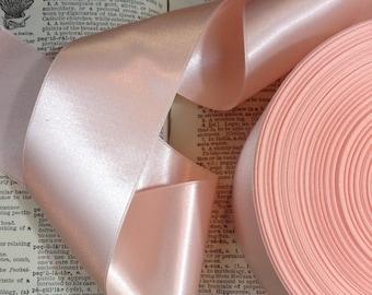 light blush pink hint of peach satin ribbon