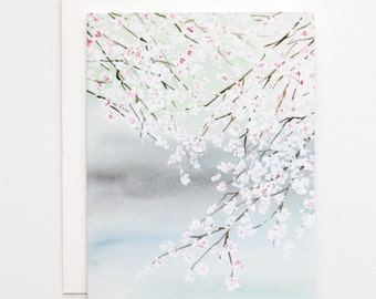Cherry Blossom on a Lake- A2 Greeting Card