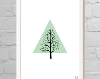 Tree In Treangle Illustration Print