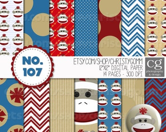 "Sock Monkey Printable Digital Paper Pack - 12""x12"" - 300 dpi - for scrapbooking, cards, invitations - Blue, Red, Pink,"