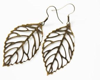Bronze Leaf Earrings - Dangle Drop Earrings - Gift for her