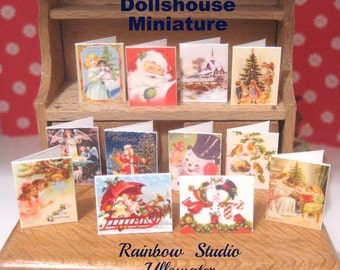 christmas cards x 12 miniature dollhouse 12th scale victorian inspired designs lakeland artist