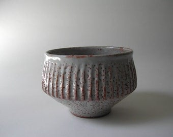 White Shino Glazed Bowl with Vertical Carved Ridges