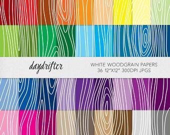 White Wood Grain Faux Bois Rainbow Paper Pack - Instant Download Commercial Use Digital Scrapbooking Woodgrain