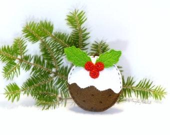 Christmas Pudding Ornament, Christmas tree decoration, Felt ornament, Christmas felt ornament, Christmas decor