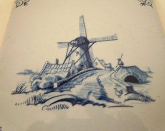 Delft Windmill Tile