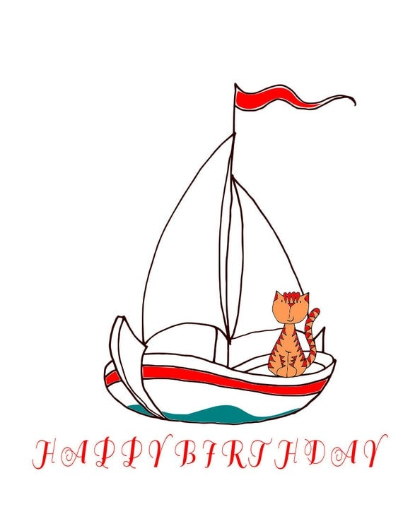 PRINTABLE happy birthday card, sailing cat, Personalized art