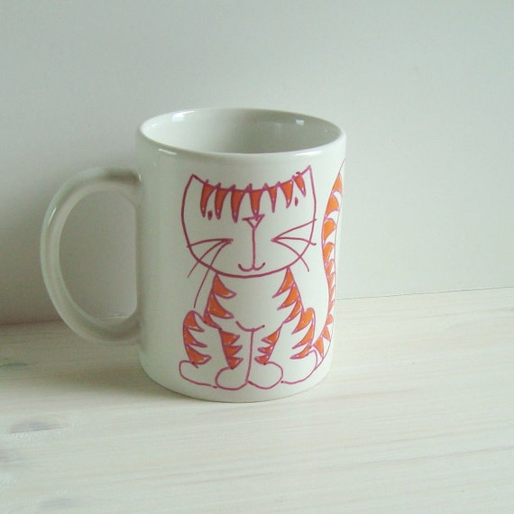 Cat coffee cup, cat tea cup, cat lover cup, pottery cup