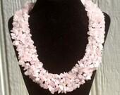 ON SALE- Rose Quartz Patite Pebble Bead Necklace - Rose Quartz Statement Necklace, Rose Quartz, Necklace, Chakra, Pebble Beads