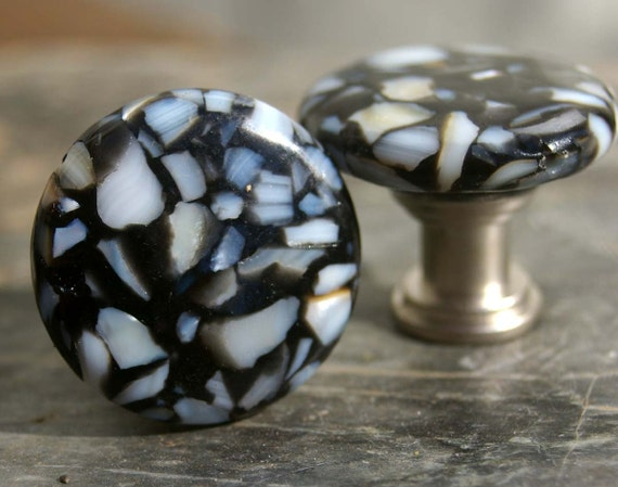 Knobs, Stone Knobs, Cabinet Knobs, Cabinet Knobs - Black Stone with Mother of Pearl Mosaic, Black and White, Drawer