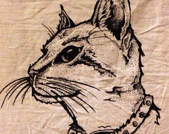 cat screen printed patch