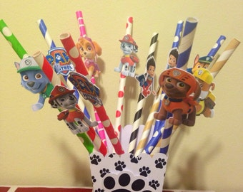 Paw Patrol Straws with holder