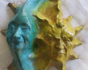 Cast Stone Sun & Moon Wall Art Sculpture for Home, Garden, Gift