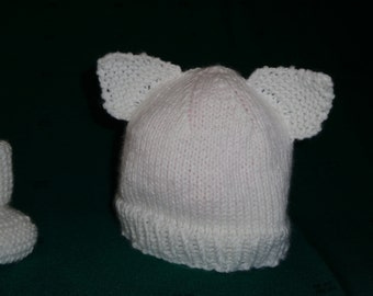 Cat-ear Baby Hat and Matching Booties