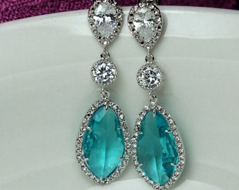 teal blue jewelry , teal blue earring , bridal long earring , bridesmaid earring , wedding drop earring